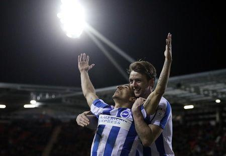 Brighton's Anthony Knockaert celebrates scoring their first goal