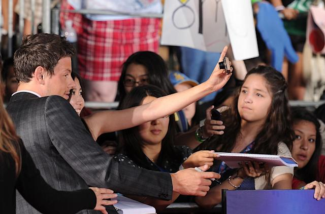 """WESTWOOD, CA - AUGUST 06: Actor Cory Monteith arrives at the Premiere Of Twentieth Century Fox's """"Glee The 3D Concert Movie"""" at the Regency Village Theater on August 6, 2011 in Westwood, California. (Photo by Frazer Harrison/Getty Images)"""