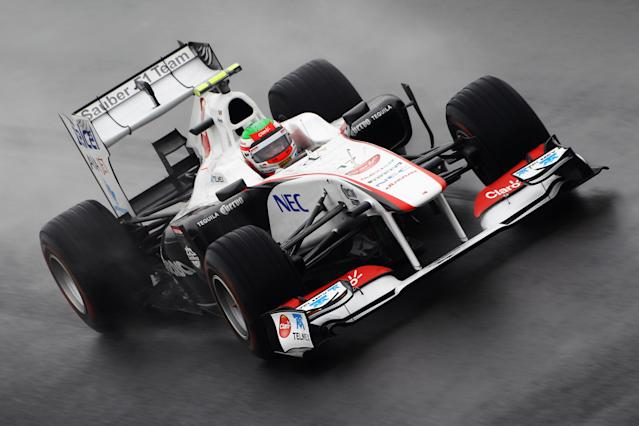YEONGAM-GUN, SOUTH KOREA - OCTOBER 14: Sergio Perez of Mexico and Sauber F1 drives during practice for the Korean Formula One Grand Prix at the Korea International Circuit on October 14, 2011 in Yeongam-gun, South Korea. (Photo by Clive Mason/Getty Images)