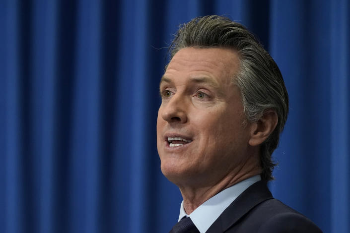 FILE - In this Jan. 8, 2021, file photo, California Gov. Gavin Newsom speaks during a news conference in Sacramento, Calif. Gov. Newsom is facing the possibility that he could be removed by voters in a recall election later this year, in the midst of his four-year term. (AP Photo/Rich Pedroncelli, Pool, File)
