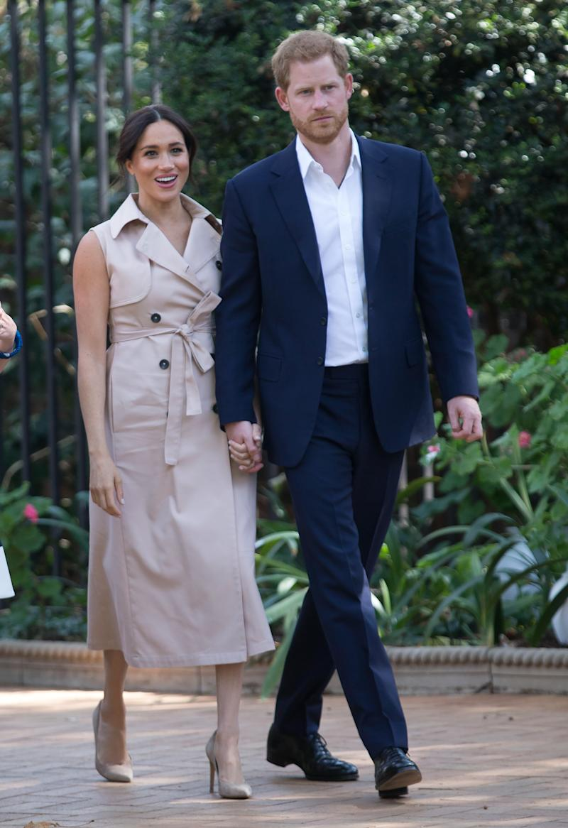 Prince Harry, Duke of Sussex and Meghan, Duchess of Sussex visit the British High Commissioner's residence to attend an afternoon reception to celebrate the UK and South Africa's important business and investment relationship, looking ahead to the Africa Investment Summit the UK will host in 2020. This is part of the Duke and Duchess of Sussex's royal tour to South Africa. on October 02, 2019 in Johannesburg, South Africa.