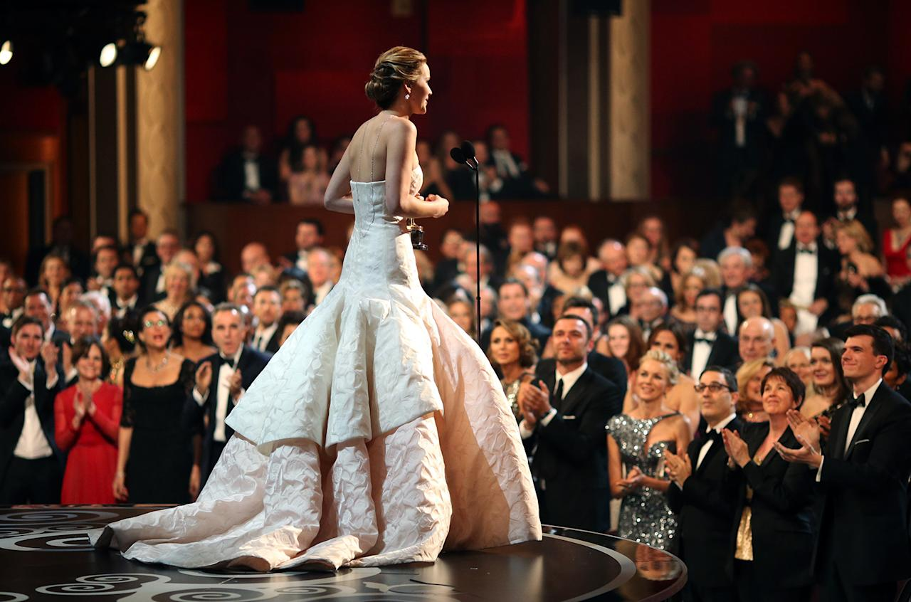 Jennifer Lawrence accepts the award for Performance by an Actress in a Leading Role during the Oscars held at the Dolby Theatre on February 24, 2013 in Hollywood, California.  (Photo by Christopher Polk/Getty Images)