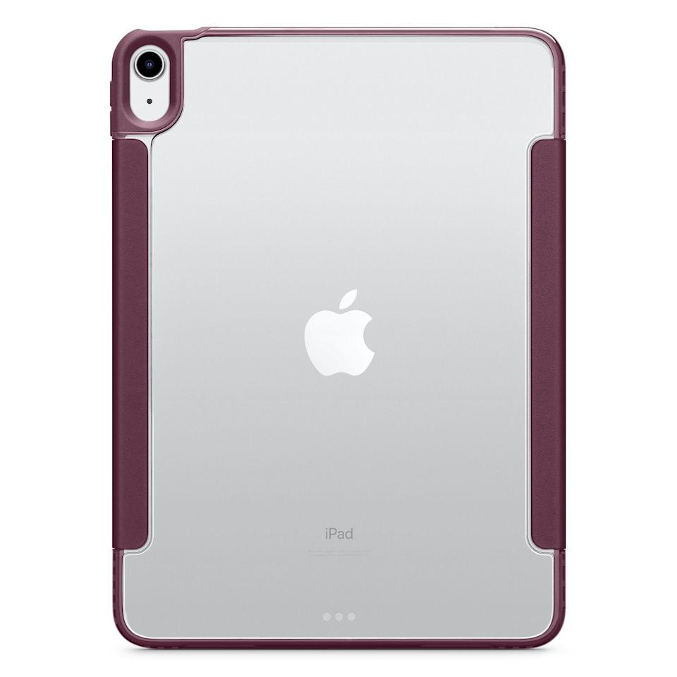 "<p><strong>OtterBox</strong></p><p>apple.com</p><p><strong>$69.95</strong></p><p><a href=""https://go.redirectingat.com?id=74968X1596630&url=https%3A%2F%2Fwww.apple.com%2Fshop%2Fproduct%2FHPBA2ZM%2FA%2Fotterbox-symmetry-series-360-folio-case-for-ipad-air-4th-generation&sref=https%3A%2F%2Fwww.bestproducts.com%2Ftech%2Fgadgets%2Fnews%2Fg740%2Fbest-ipad-air-cases-covers%2F"" rel=""nofollow noopener"" target=""_blank"" data-ylk=""slk:Shop Now"" class=""link rapid-noclick-resp"">Shop Now</a></p><p>The OtterBox Symmetry Series 360 Folio is our favorite iPad Air case. It is slim, yet it offers excellent protection against scratches and drops. With a built-in magnetic folio cover that doubles as a viewing stand, the accessory will also protect the slate when it's not in use. Best of all, the clear case will showcase the cool new colors of the latest iPad Air.</p><p>Otterbox has equipped the case with a convenient Apple Pencil holder. You can order the Symmetry Series 360 Folio with a gray or purple screen cover.</p><p><strong>More:</strong> <a href=""https://www.bestproducts.com/tech/gadgets/g2710/cool-ipad-and-ipad-pro-accessories/"" rel=""nofollow noopener"" target=""_blank"" data-ylk=""slk:Get the Most from Your Tablet With These iPad Accessories"" class=""link rapid-noclick-resp"">Get the Most from Your Tablet With These iPad Accessories</a></p>"