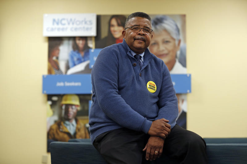 In this photo taken Wednesday, Dec. 18, 2019 Dennis Gaddy, the co-founder of Community Success Initiative is seen in the Raleigh, N.C. office. Gaddy, 62, served time behind bars and said he was unable to vote for seven years after being released from prison because he was on probation. (AP Photo/Gerry Broome)