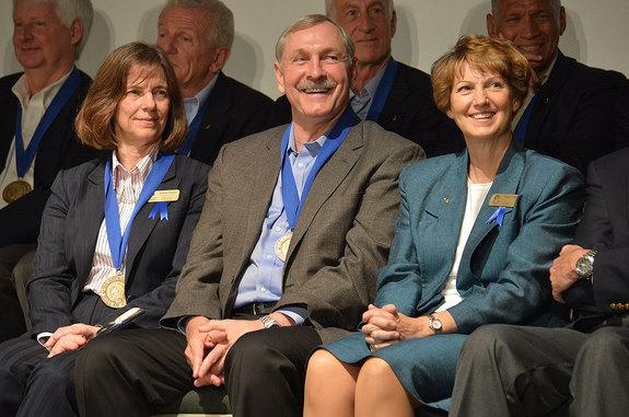Space shuttle astronauts (from left to right) Bonnie Dunbar, Curt Brown and Eileen Collins are seen being inducted into the U.S. Astronaut Hall of Fame at the Kennedy Space Center Visitor Complex in Florida on Saturday, April 20, 2013.