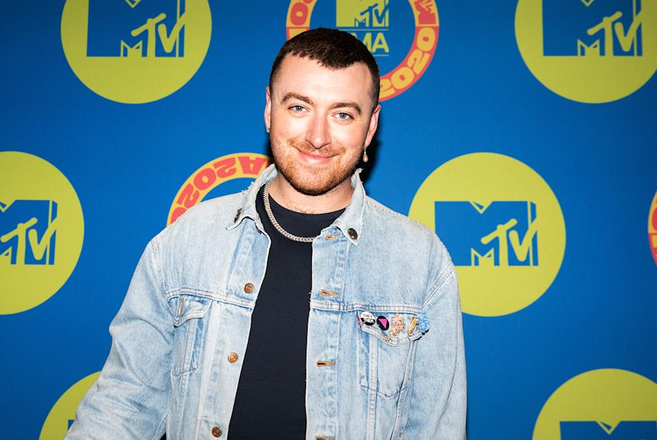 Sam Smith poses at the MTV EMA's 2020 on November 03, 2020 in London, England.  (Photo by Madison Phipps via Getty Images for MTV)