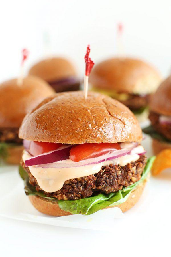 """<p>Have a hankering for tapas? This vegan take on sliders is a great way to feel refined without having to make reservations.</p><p><a class=""""link rapid-noclick-resp"""" href=""""https://minimalistbaker.com/7-ingredient-veggie-sliders/"""" rel=""""nofollow noopener"""" target=""""_blank"""" data-ylk=""""slk:GET THE RECIPE"""">GET THE RECIPE</a></p><p><em>Per serving: 389 calories, 4 g fat (1 g saturated), 9 g carbs, 1 g sugar, 190 mg sodium, 3 g fiber, 4 g protein</em></p>"""