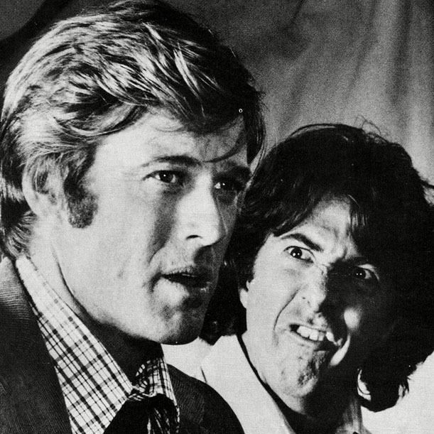 <p>What's up? Robert Redford and Dustin Hoffman have a laugh on the set.</p>