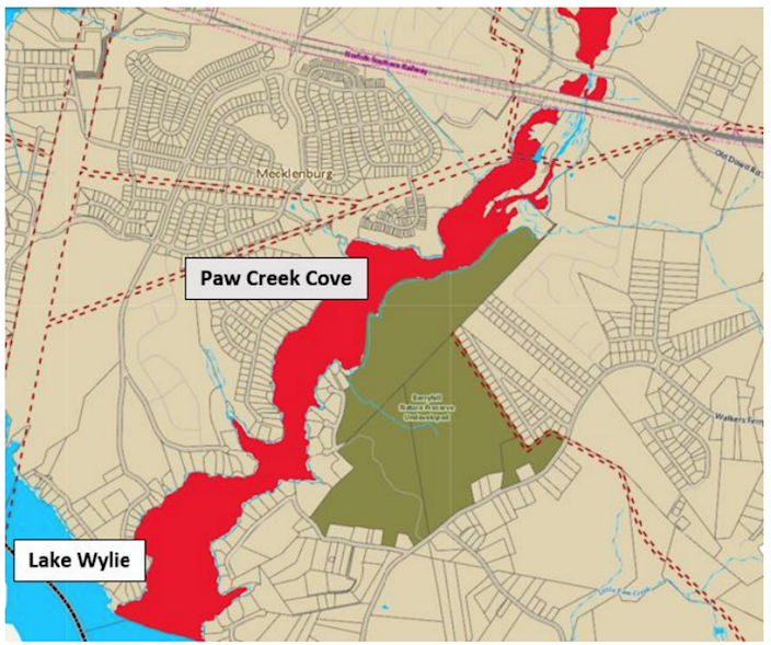 Nearly 850,000 gallons of untreated sewage flowed into the Catawba River from the Paw Creek Lift Station on Old Dowd Road on Saturday, July 17, 2021. The spill prompted Mecklenburg County officials to issue a swimming ban at Paw Creek Cove.