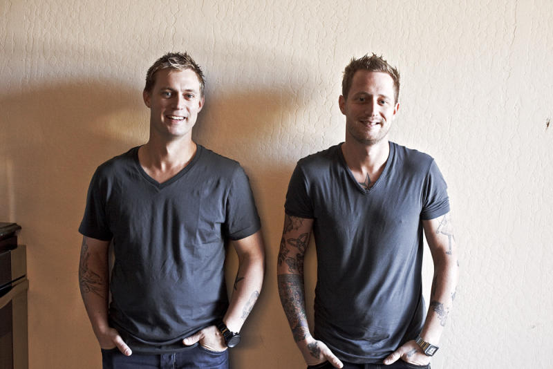 This undated photo courtesy of Ed Anderson shows chef Bryan Voltaggio, left, and chef Michael Voltaggio. In business and in life, the Voltaggio brothers are as much alike as they are different   (AP Photo/Ed Anderson)
