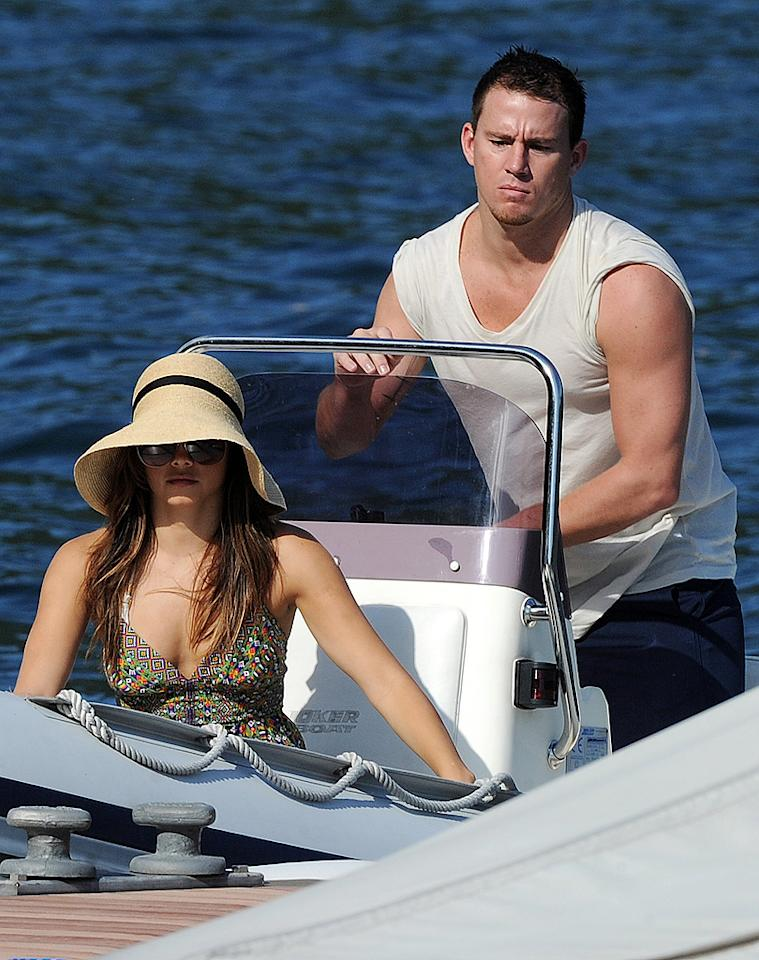 Channing Tatum took his lovely wife, Jenna Dewan, for a romantic ride while vacationing in Lake Como, Italy, where the couple visited with their pal Stacy Keibler and her main squeeze George Clooney. That's amore! (7/14/2012)