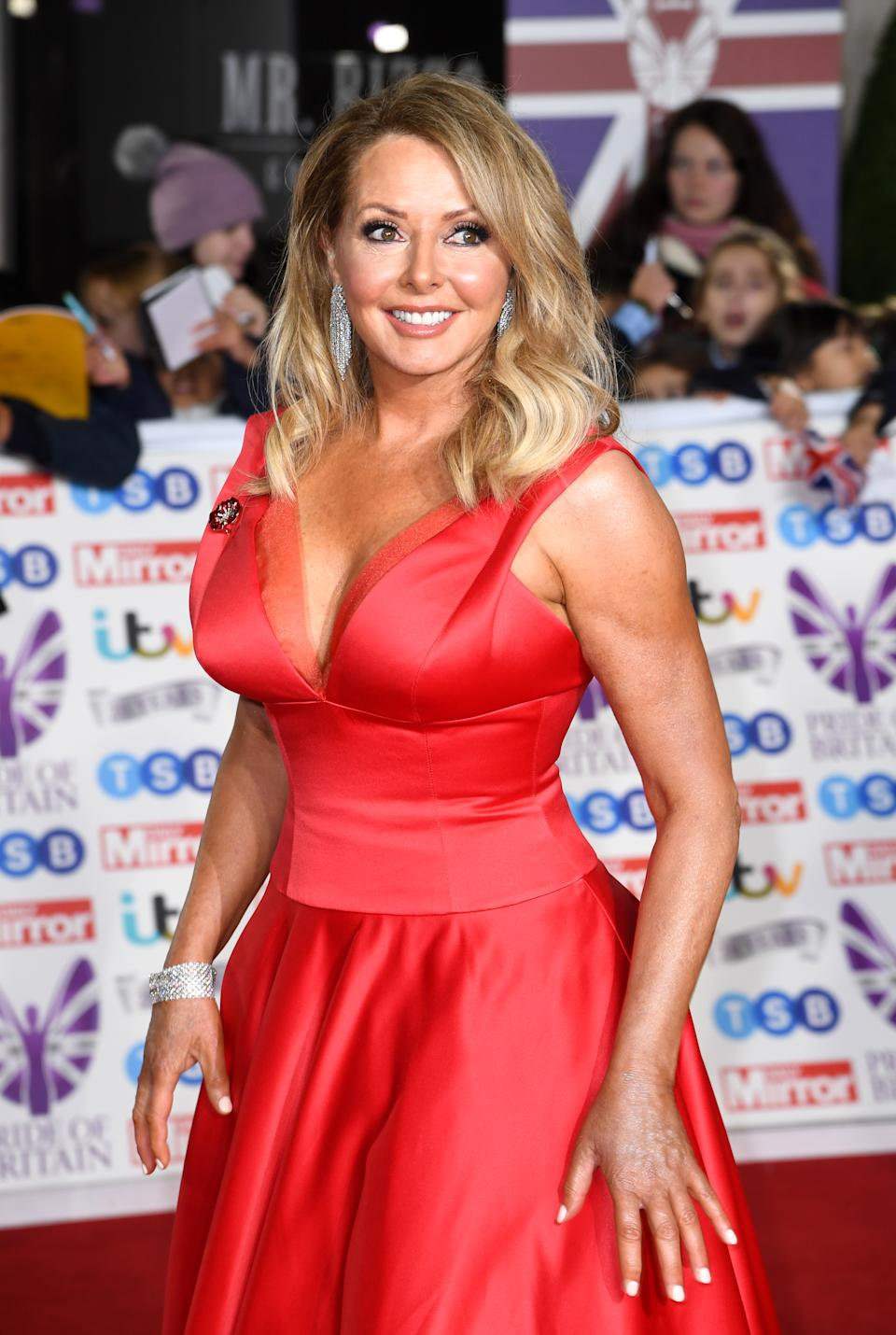 Carol Vorderman attending the the 2019 Pride of Britain Awards, held at Grosvenor House in London. The Daily Mirror Pride of Britain Awards, in partnership with TSB, will broadcast on ITV on 5th November at 8pm. Picture credit should read: Doug Peters/EMPICS
