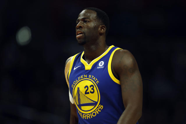 "<a class=""link rapid-noclick-resp"" href=""/nba/teams/gsw/"" data-ylk=""slk:Golden State Warriors"">Golden State Warriors</a> forward <a class=""link rapid-noclick-resp"" href=""/nba/players/5069/"" data-ylk=""slk:Draymond Green"">Draymond Green</a> says <a class=""link rapid-noclick-resp"" href=""/nba/teams/cle/"" data-ylk=""slk:Cleveland Cavaliers"">Cleveland Cavaliers</a> fans should be concerned about <a class=""link rapid-noclick-resp"" href=""/nba/players/3704/"" data-ylk=""slk:LeBron James"">LeBron James</a>' minutes."