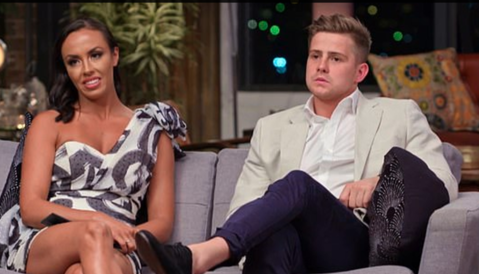 Married At First Sight's Natasha and Mikey on the couch