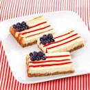 """<p>Compete with blueberries, strawberry jam, and a graham-cracker crust, these adorable cheesecake cookie squares are as fun to make as they are to eat. </p><p><strong><em>Get the recipe for <a href=""""https://www.delish.com/cooking/recipe-ideas/recipes/a29067/american-cheesecake-squares/"""" rel=""""nofollow noopener"""" target=""""_blank"""" data-ylk=""""slk:Flag Cheesecake Cookie Bars"""" class=""""link rapid-noclick-resp"""">Flag Cheesecake Cookie Bars</a>. </em></strong></p>"""
