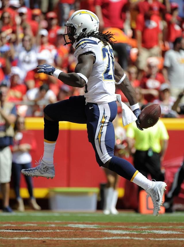 <p>San Diego Chargers running back Melvin Gordon (28) celebrates a touchdown during the first half of an NFL football game against the Kansas City Chiefs in Kansas City, Mo., Sunday, Sept. 11, 2016. (AP Photo/Ed Zurga) </p>