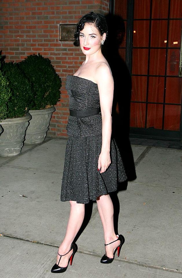 "Did Dita Von Teese give one of her famous burlesque performances to the birthday boy? Ryan Turgeon/<a href=""http://www.splashnewsonline.com"" target=""new"">Splash News</a> - September 14, 2008"