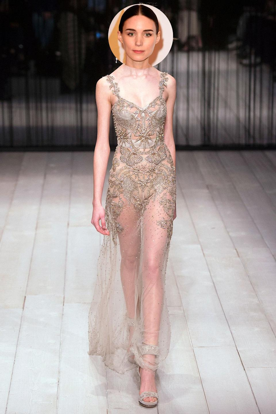 <p>Mara may have a reputation as a risk-taking red carpet bad girl, but in recent months, we've seen a softer side of the <i>Carol</i> actress. We wouldn't be surprised to see her on the red carpet in this sheer number from Alexander McQueen.</p>