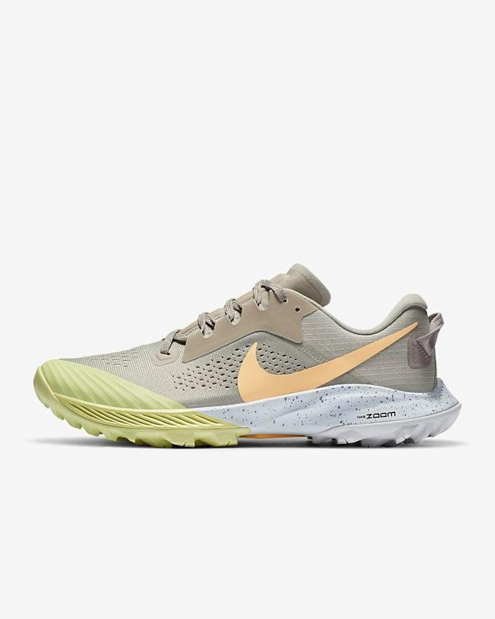 "<br> <br> <strong>Nike</strong> Air Zoom Terra Kiger 6, $, available at <a href=""https://go.skimresources.com/?id=30283X879131&url=https%3A%2F%2Fwww.nike.com%2Ft%2Fair-zoom-terra-kiger-6-womens-trail-running-shoe-CnfDJ2%2FCJ0220-200"" rel=""nofollow noopener"" target=""_blank"" data-ylk=""slk:Nike"" class=""link rapid-noclick-resp"">Nike</a>"