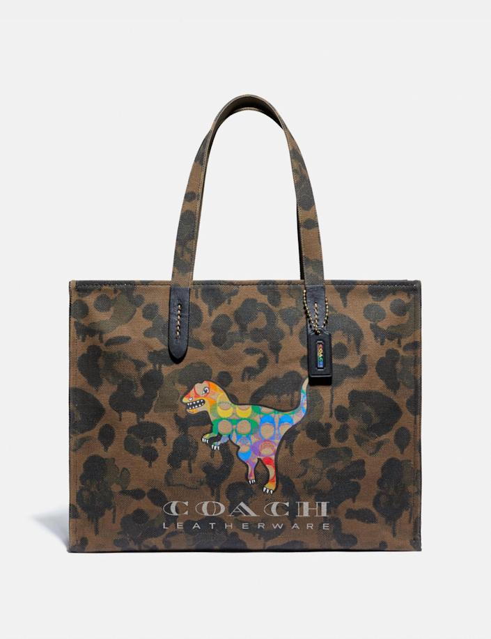 Tote 42 With Rainbow Signature Rexy. Image via Coach.