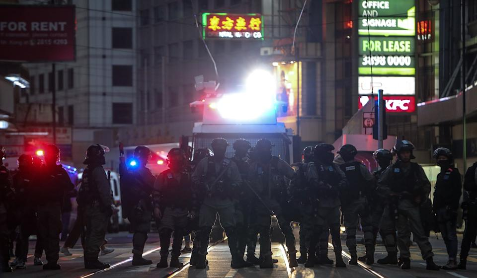 Sunday brought brief stand-offs between protesters and police, but no violence ensued Photo: Winson Wong
