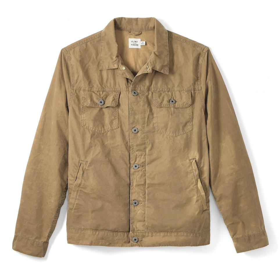 """<p><strong>Flint and Tinder</strong></p><p>huckberry.com</p><p><a href=""""https://go.redirectingat.com?id=74968X1596630&url=https%3A%2F%2Fhuckberry.com%2Fstore%2Fflint-and-tinder%2Fcategory%2Fp%2F68209-unlined-waxed-trucker-jacket&sref=https%3A%2F%2Fwww.bestproducts.com%2Fmens-style%2Fg36558357%2Fhuckberry-memorial-day-sale%2F"""" rel=""""nofollow noopener"""" target=""""_blank"""" data-ylk=""""slk:Shop Now"""" class=""""link rapid-noclick-resp"""">Shop Now</a></p><p><strong><del>$188</del> $131 (30% off)</strong></p>"""