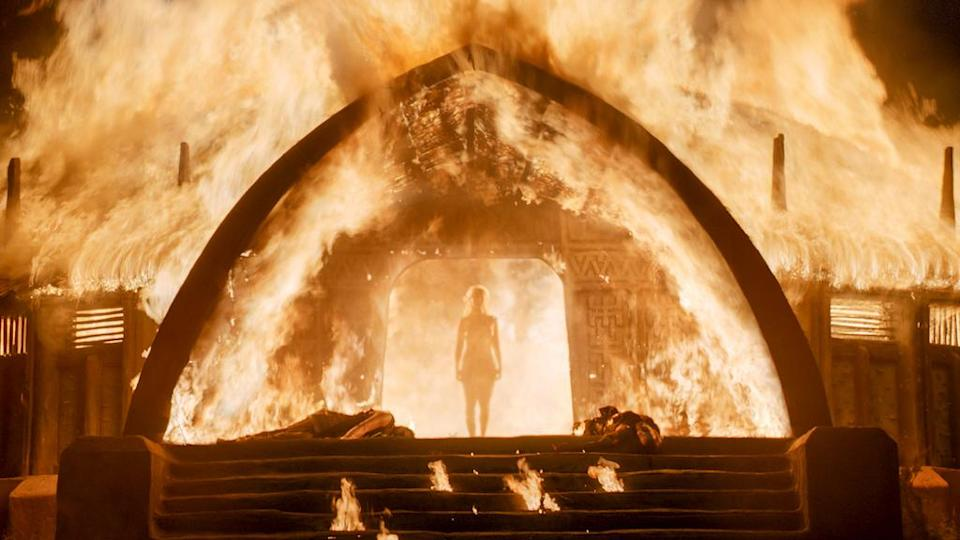 <p>She's not called the Unburnt for nothing. Daenerys re-earned that title after her capture by the Dothraki. When the khals gathered to decide her fate, she turned the proceedings around on them. She decided <em>their</em> fate — death by fire. She declared that only she was fit to lead the Dothraki and then set the hut ablaze, emerging unharmed and triumphant. —<em>Kelly Woo</em><br>(Photo: HBO) </p>