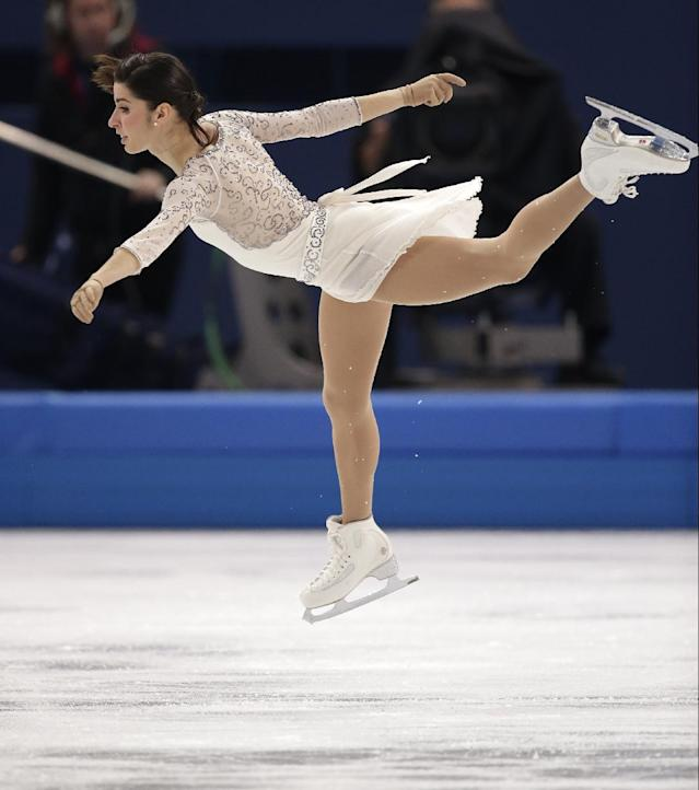Valentina Marchei of Italy competes in the women's short program figure skating competition at the Iceberg Skating Palace during the 2014 Winter Olympics, Wednesday, Feb. 19, 2014, in Sochi, Russia. (AP Photo/Bernat Armangue)