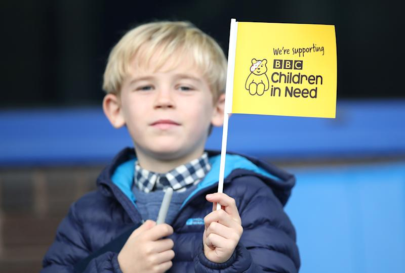 A fan show support for 'Children in Need' before the Premier League match between Everton FC and West Ham United at Goodison Park on October 19, 2019 in Liverpool, United Kingdom. (Photo by Ian MacNicol/Getty Images)
