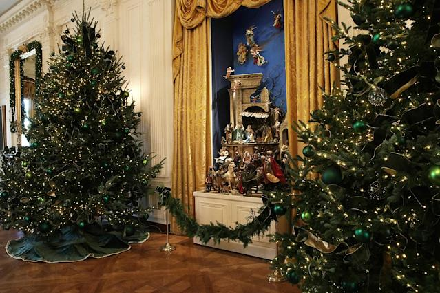 <p>The White House creche is on display in the East Room at the White House during a press preview of the 2017 holiday decorations Nov. 27, 2017 in Washington, D.C. (Photo: Alex Wong/Getty Images) </p>
