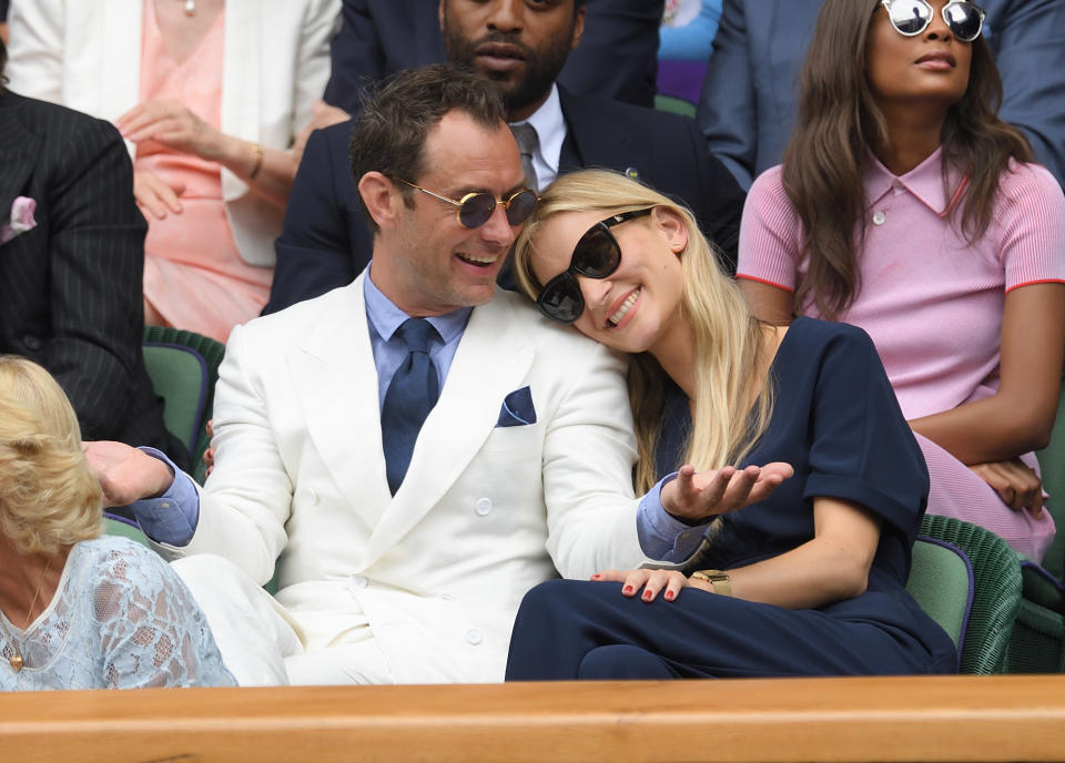 LONDON, ENGLAND - JULY 08:  Jude Law and Phillipa Coan attend day eleven of the Wimbledon Tennis Championships at Wimbledon on July 08, 2016 in London, England.  (Photo by Karwai Tang/WireImage)