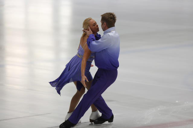 British ice skating pair Torvill and Dean, Jayne Torvill and Christopher Dean, perform during rehearsal in Bosnian capital of Sarajevo on Thursday, Feb. 13, 2014. The ice skating duo will perform in Sarajevo, 30 years after they won their Olympic gold medals in 1984. The pair were invited to visit the city by the Mayors of Sarajevo and East Sarajevo, to celebrate the anniversary of the historic sporting moment. They will skate at the same stadium in which they originally celebrated their Olympic victory, although the venue has been rebuilt after it was destroyed during the Bosnian war.(AP Photo/Amel Emric)