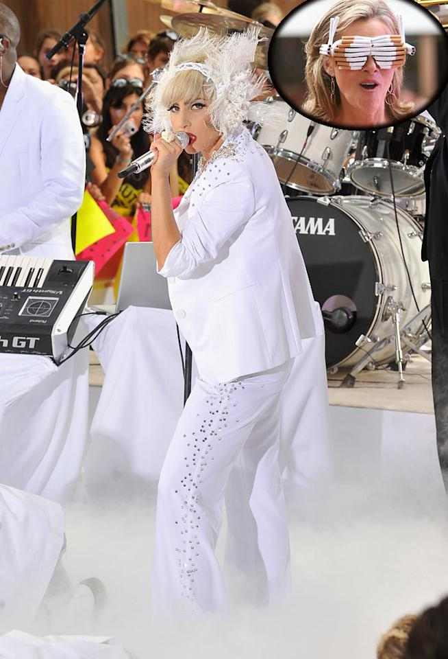 "For the first time in ages, Lady Gaga didn't look terrifying as she performed a few hits in Rockefeller Center on NBC's ""Today."" Surprisingly, it was morning show host Meredith Vieira who delivered the fashion faux pas when she donned Gaga-esque glasses made out of cigarettes. Theo Wargo/<a href=""http://www.wireimage.com"" target=""new"">WireImage.com</a> - July 9, 2010"