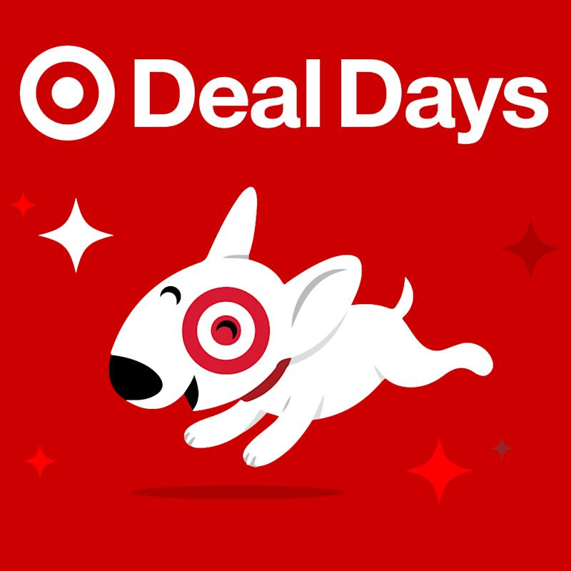 An animated miniature bull terrier with the Target bulls eye logo around its eye running happily, with the caption Deal Days.