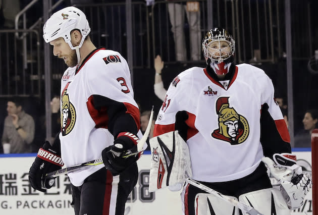 "<a class=""link rapid-noclick-resp"" href=""/nhl/teams/ott/"" data-ylk=""slk:Ottawa Senators"">Ottawa Senators</a>' <a class=""link rapid-noclick-resp"" href=""/nhl/players/3526/"" data-ylk=""slk:Marc Methot"">Marc Methot</a> (3) and goalie <a class=""link rapid-noclick-resp"" href=""/nhl/players/2911/"" data-ylk=""slk:Craig Anderson"">Craig Anderson</a> (41) react after <a class=""link rapid-noclick-resp"" href=""/nhl/teams/nyr/"" data-ylk=""slk:New York Rangers"">New York Rangers</a>' <a class=""link rapid-noclick-resp"" href=""/nhl/players/3153/"" data-ylk=""slk:Rick Nash"">Rick Nash</a> scored a goal during the second period of Game 3 of an NHL hockey Stanley Cup second-round playoff series Tuesday, May 2, 2017, in New York. (AP Photo/Frank Franklin II)"