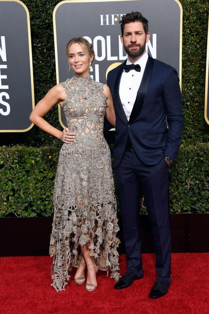 <p><i>A Quiet Place</i> couple Emily Blunt and John Krasinski popped by to see Blunt recognized with her sixth Globes nomination, this one for her starring role in <i>Mary Poppins Returns</i>. (Photo: Getty Images) </p>