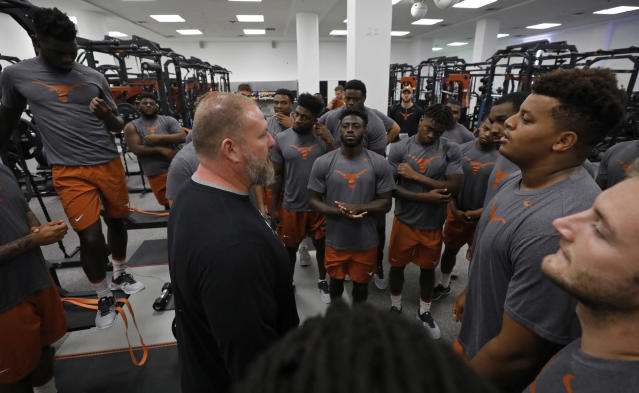 Texas Longhorns head strength and conditioning coach for football Yancy McKnight talks with players during their morning workout Wednesday Sept. 4, 2019 in Austin, Tx. ( Photo by Edward A. Ornelas )