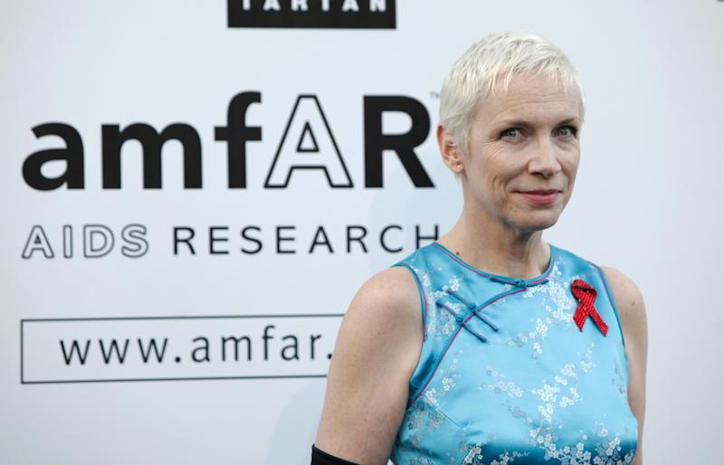 FILE - In this May 21, 2009 file photo, Annie Lennox arrives for the amfAR Cinema Against AIDS benefit at the Hotel du Cap-Eden-Roc, during the 62nd Cannes International film festival, in Antibes, southern France. Lennox is one of the world's leading celebrity contributor's to charity. (AP Photo/Matt Sayles, File)