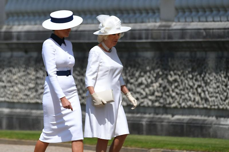 Britain's Camilla, Duchess of Cornwall (R) talks with US First Lady Melania Trump on her arrival for a welcome ceremony at Buckingham Palace in central London on June 3, 2019, on the first day of their three-day State Visit to the UK. - Britain rolled out the red carpet for US President Donald Trump on June 3 as he arrived in Britain for a state visit already overshadowed by his outspoken remarks on Brexit. (Photo by MANDEL NGAN / AFP) (Photo credit should read MANDEL NGAN/AFP/Getty Images)