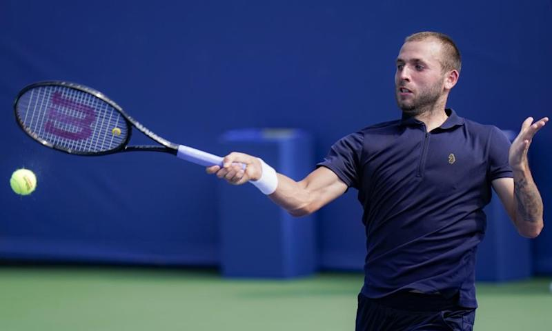 Dan Evans in action against Andrey Rublev at the Western & Southern Open last Sunday
