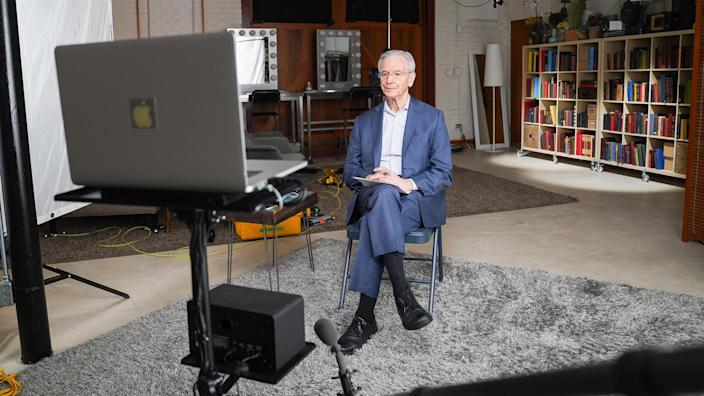 Correspondent David Martin during one of his remote interviews for this report.