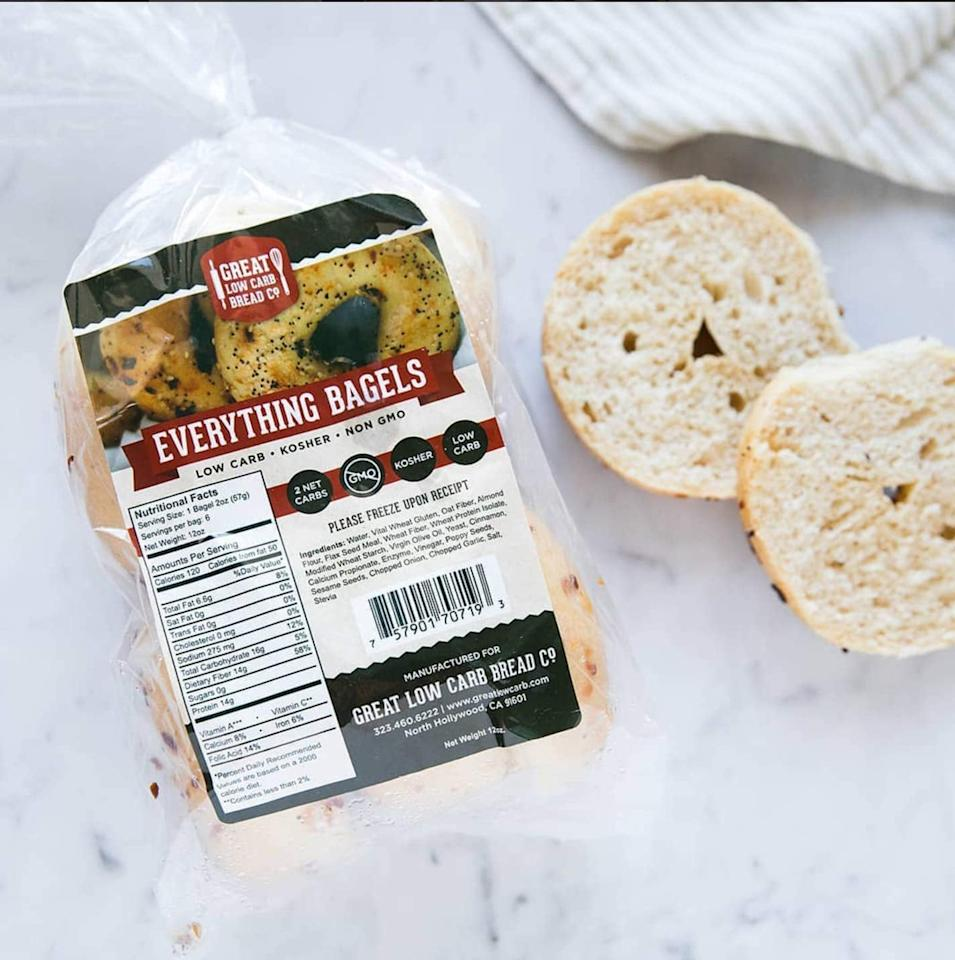 """<p>Weekend mornings were made for these <a href=""""https://www.popsugar.com/buy/Great-Low-Carb-Bread-Co-Everything-Bagels-475591?p_name=Great%20Low%20Carb%20Bread%20Co.%20Everything%20Bagels&retailer=amazon.com&pid=475591&price=19&evar1=fit%3Auk&evar9=46454676&evar98=https%3A%2F%2Fwww.popsugar.com%2Ffitness%2Fphoto-gallery%2F46454676%2Fimage%2F46454711%2FGreat-Low-Carb-Bread-Co-Everything-Bagels&list1=shopping%2Camazon%2Cbreakfast%2Cbagels%2Clow-carb%2Cketo%20diet&prop13=api&pdata=1"""" rel=""""nofollow"""" data-shoppable-link=""""1"""" target=""""_blank"""" class=""""ga-track"""" data-ga-category=""""Related"""" data-ga-label=""""https://www.amazon.com/Great-Low-Carb-Bread-Co/dp/B00DU400BC/ref=sr_1_11?keywords=keto+bagels&amp;qid=1565023072&amp;s=gateway&amp;sr=8-11"""" data-ga-action=""""In-Line Links"""">Great Low Carb Bread Co. Everything Bagels</a> ($19).</p>"""