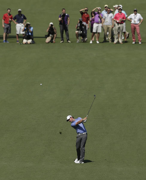 Rory McIlroy, of Northern Ireland, hits on the seventh fairway during a practice round for the Masters golf tournament Tuesday, April 9, 2013, in Augusta, Ga. (AP Photo/Charlie Riedel)