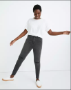 """<p><strong>Madewell</strong></p><p>madewell.com</p><p><a href=""""https://go.redirectingat.com?id=74968X1596630&url=https%3A%2F%2Fwww.madewell.com%2Fcurvy-high-rise-skinny-jeans-in-black-sea-H6389.html&sref=https%3A%2F%2Fwww.cosmopolitan.com%2Fstyle-beauty%2Ffashion%2Fg34276815%2Fmadewell-jeans-sale-october-2020%2F"""" rel=""""nofollow noopener"""" target=""""_blank"""" data-ylk=""""slk:SHOP NOW"""" class=""""link rapid-noclick-resp"""">SHOP NOW</a></p><p><del>$128<br></del><strong>$75 (41 percent off)</strong></p><p>Lifelong skinny-jean lovers will most likely already be familiar with (and own!) Madewell's beloved curvy high-rise skinny jeans. As one reviewer wrote: """"Not only do they fit perfectly in the waist but my thighs don't feel restricted at all. They are so comfortable and flattering!"""" Another reviewer likened finding these to a dream come true: """"The curvy high-rise skinny jean is the denim I have literally been waiting my whole thunder-thigh life for.""""</p>"""