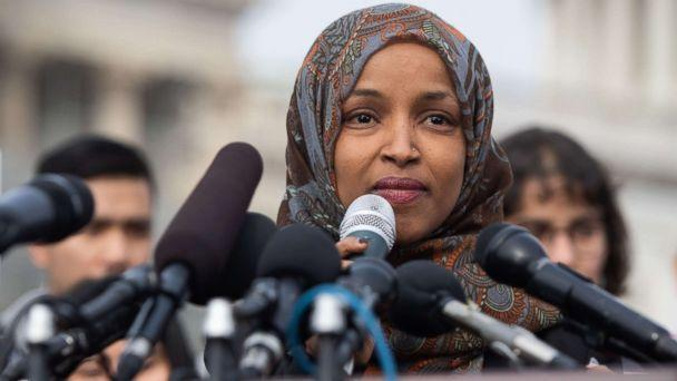 PHOTO: Representative Ilhan Omar, Democrat of Minnesota, speaks during a press conference calling on Congress to cut funding for US Immigration and Customs Enforcement (ICE) and to defund border detention facilities, outside the US Capitol, Feb. 7, 2019. (Saul Loeb/AFP/Getty Images)