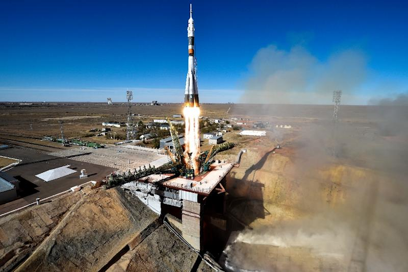 Observers said the astronauts survived the launch failure thanks to the Soviet-era rocket's rescue system (AFP Photo/Kirill KUDRYAVTSEV)
