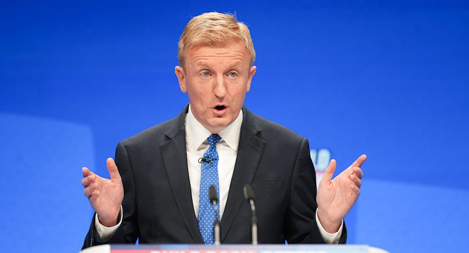 Co-Chairman of the Conservative Party Oliver Dowden speaks during day one of the annual party conference at Manchester Central on October 03, 2021 in Manchester, England. Source: Getty Images
