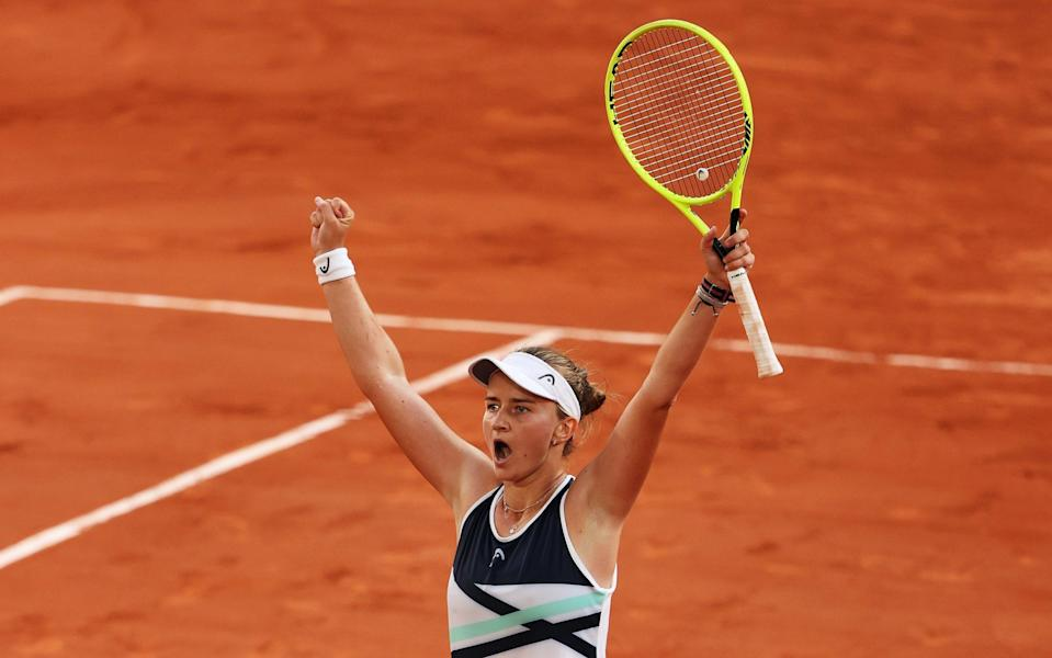 Barbora Krejcikova of The Czech Republic celebrates match point in her Semi-Final Women's Singles match against Maria Sakkari of Greece during Day Twelve of the 2021 French Open at Roland Garros on June 10, 2021 in Paris, France. - GETTY IMAGES