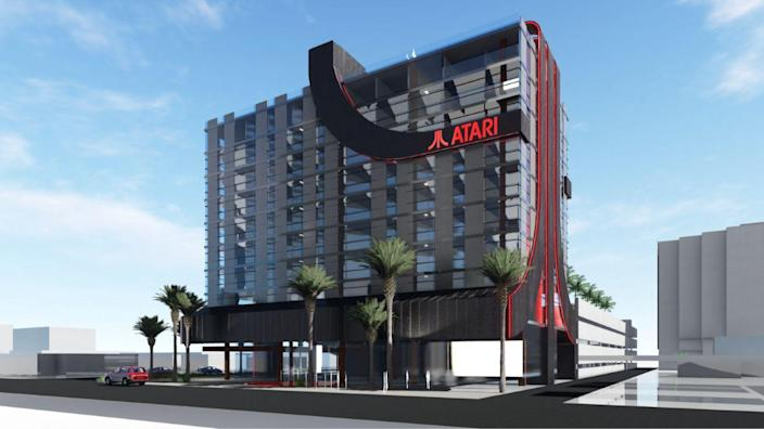 An artist's impression of one of Atari's future hotels in the USA.