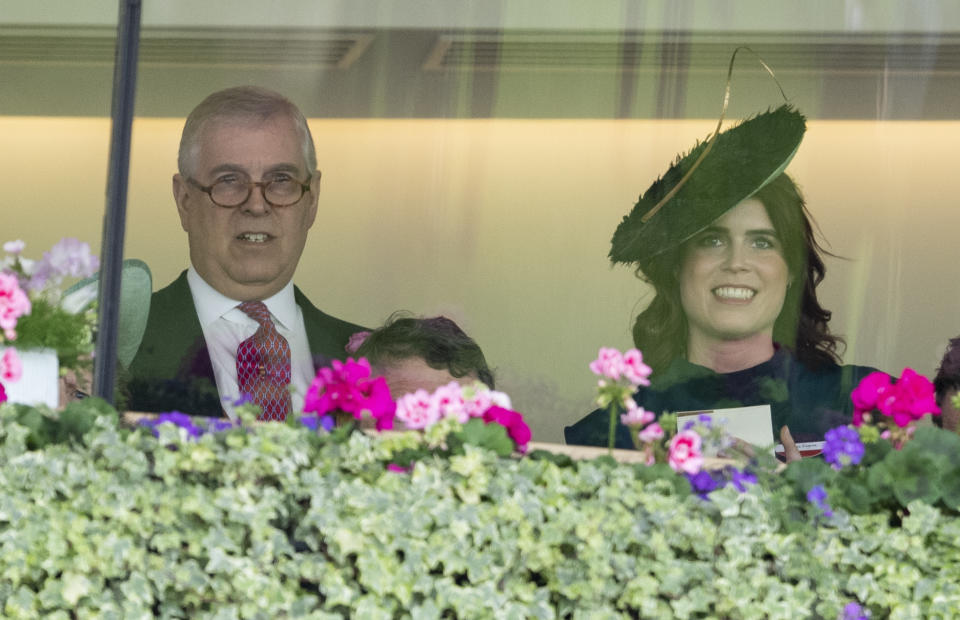 ASCOT, ENGLAND - JUNE 20: Prince Andrew, Duke of York and Princess Eugenie on day three, Ladies Day, of Royal Ascot at Ascot Racecourse on June 20, 2019 in Ascot, England. (Photo by Mark Cuthbert/UK Press via Getty Images)